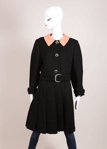 Prada Black and Tan Wool Contrast Pleated Belted Long Sleeve Coat Frontview