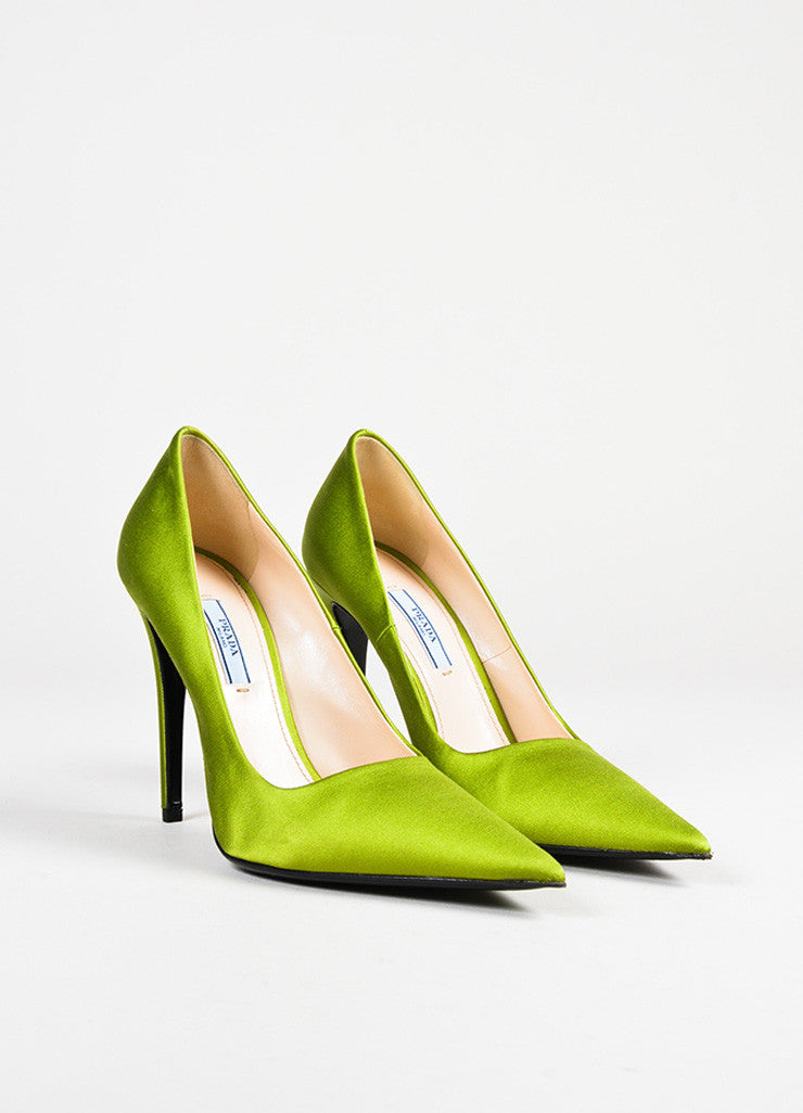 Prada Green Satin Pointed Toe Pumps Frontview