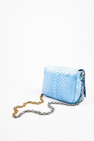 "Proenza Schouler Blue Python Two Tone Chain Shoulder Strap ""Small Courier"" Bag Sideview"