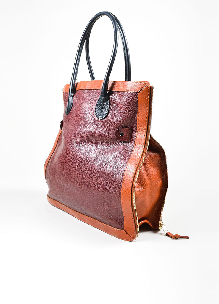 "Maroon, Brown, and Black Proenza Schouler Pebbled Leather ""PS11"" Tote Bag Sideview"