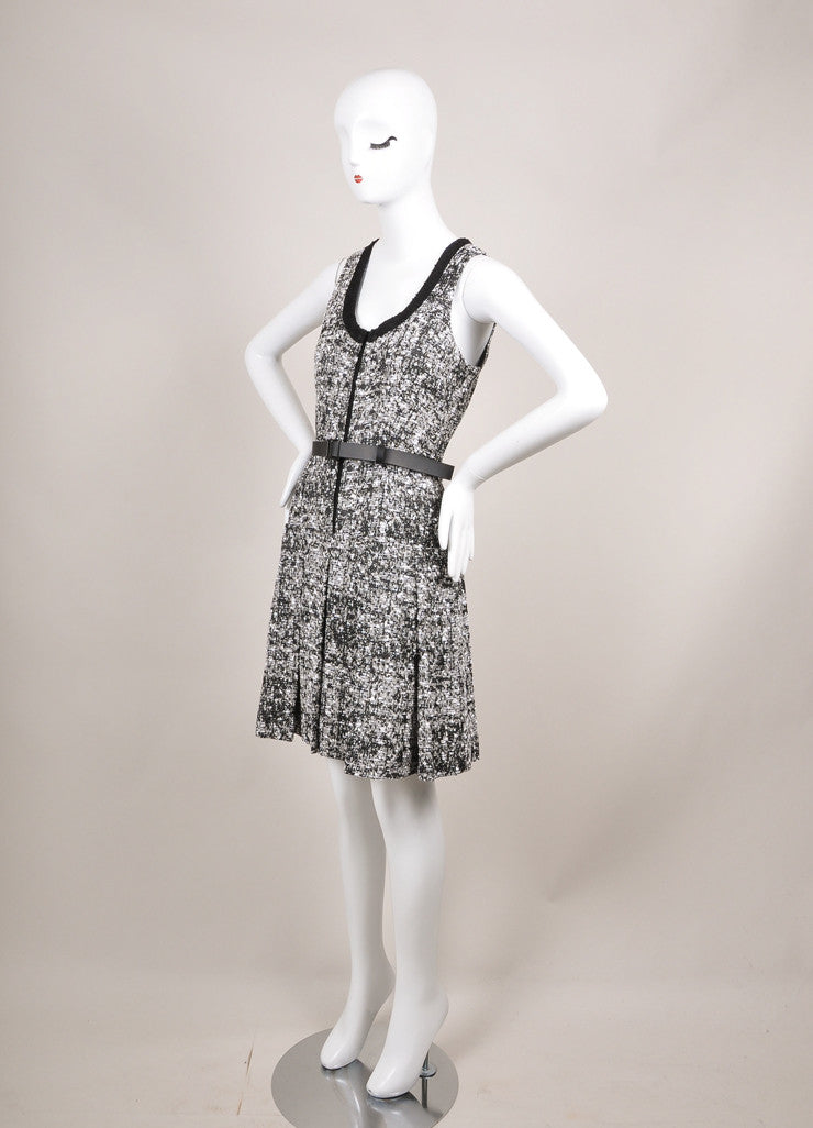 Proenza Schouler New With Tags Black and White Pleat Drop Waist Tweed Belted Dress Sideview