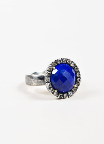 Rene Escobar Sterling Silver, Lapis, and White Sapphire Round Cocktail Ring Sideview