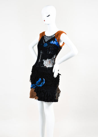 Rodarte Black, Orange, and Blue Wool Mohair Hand Knit Sheer Short Sleeve Dress Sideview
