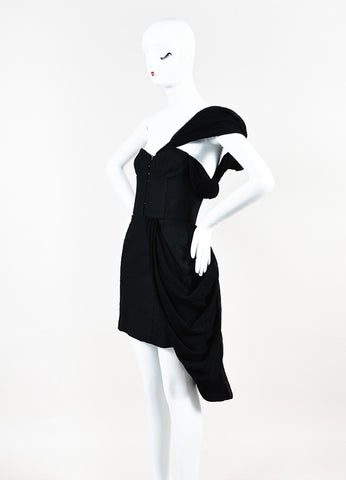 Rodarte x Opening Ceremony Black Cotton and Linen Draped Bustier Dress Sideview