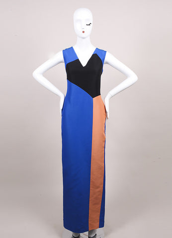 "Roksanda Ilincic New Multicolor Color Long Column ""Borda"" Dress Frontview"