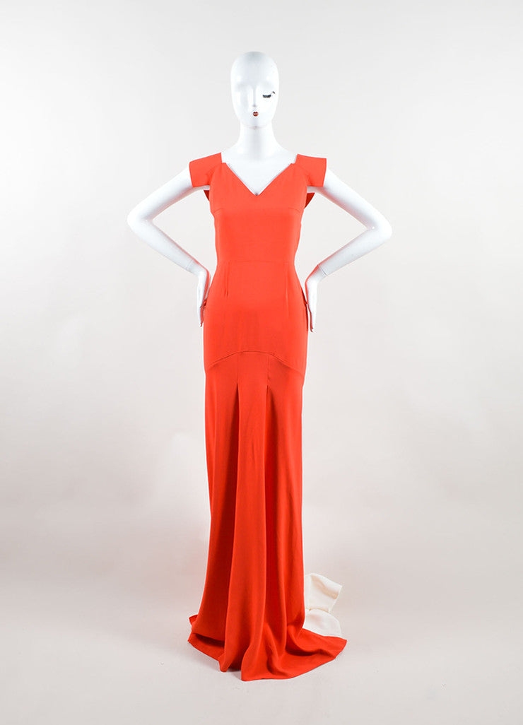 "Roland Mouret Red Cream Sleeveless ""Phoenix"" Gown Front"