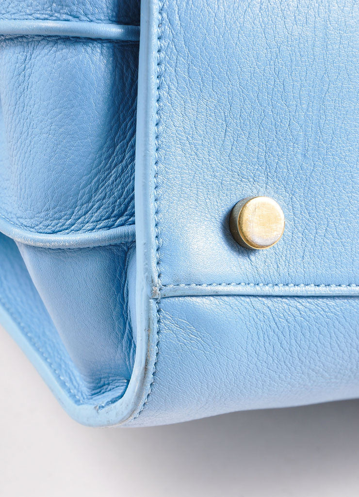 "Saint Laurent Light Blue Leather ""Small Sac du Jour"" Satchel Handbag Detail 2"