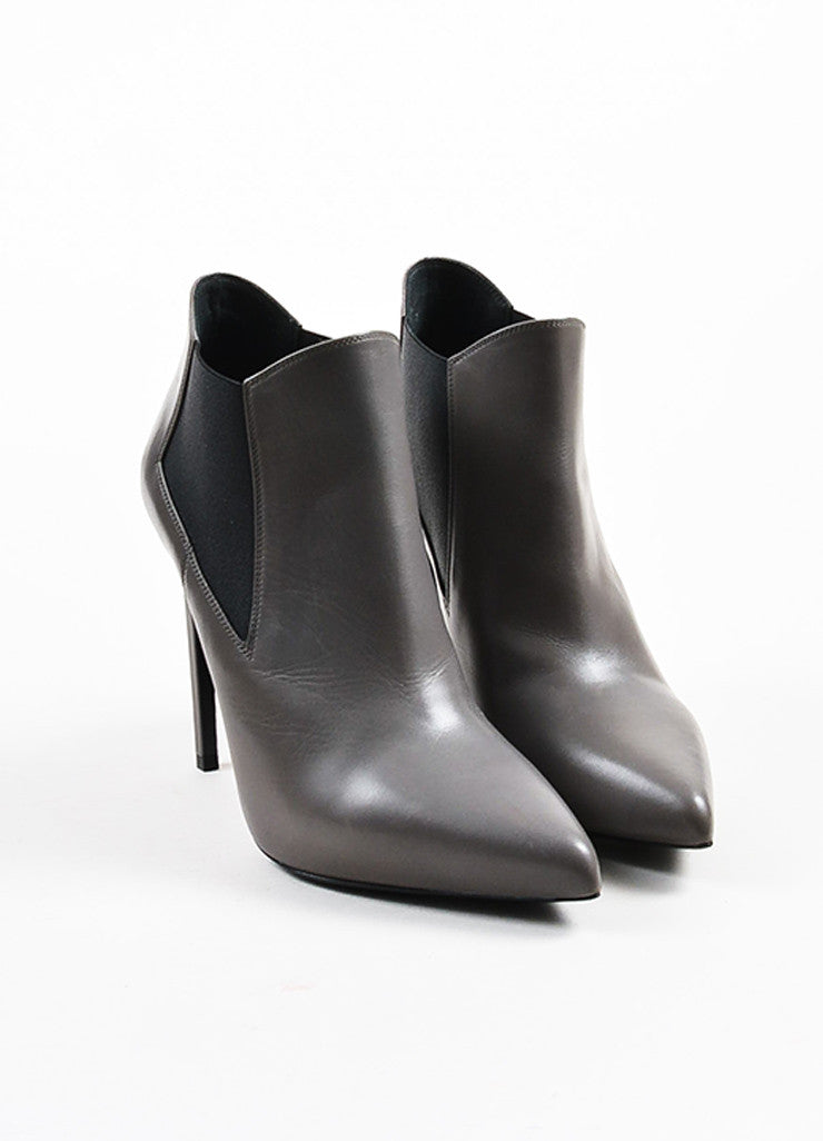 Saint Laurent Grey Leather Pointed Toe Stretch Panel Ankle Boots Frontview