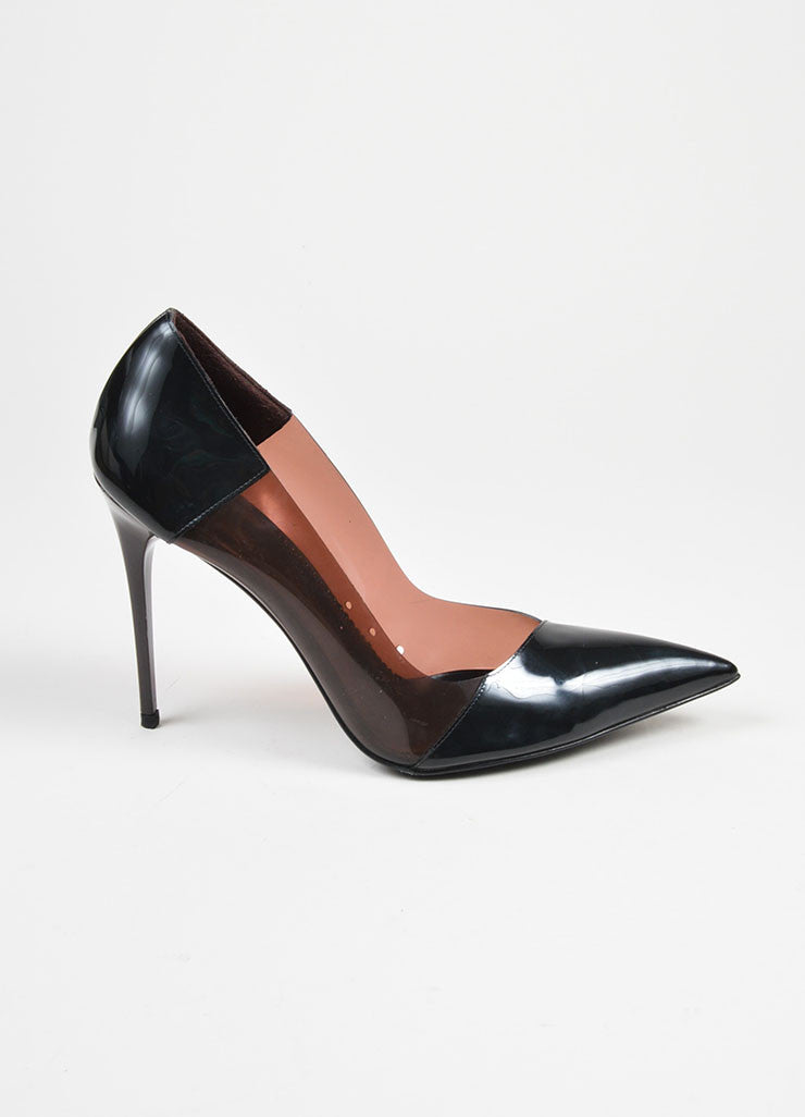 Black and Maroon Patent and Clear Stella McCartney Pointed Toe High Heel Pumps Sideview