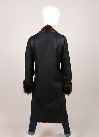 Sylvie Schimmel Black and Brown Shearling, Leather, and Fur Long Sleeve Coat Backview