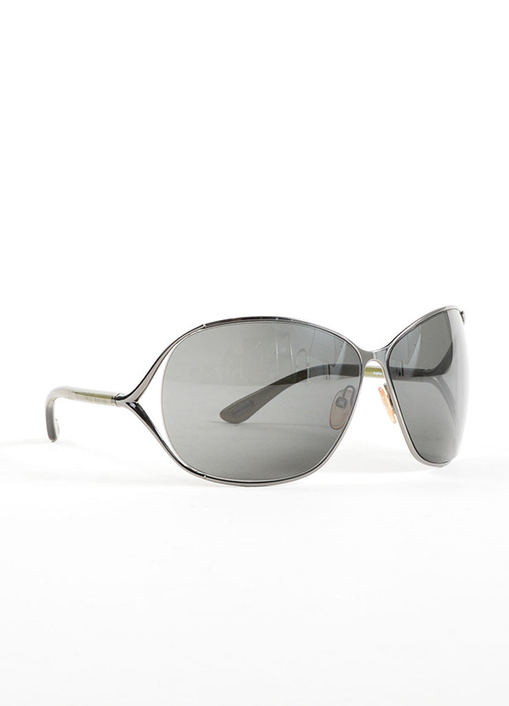 "Tom Ford Grey Plastic and Metal ""Anjelica"" Oversized Sunglasses Sideview"