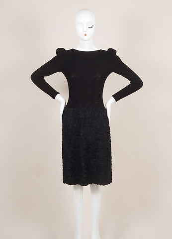 Adolfo Black Long Sleeve Boat Neck Wool Blend Textured Skirt Knit Dress Frontview