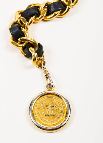 Chanel Black and Gold Toned Leather Chain Interwoven 'CC' Coin Charm Belt Detail