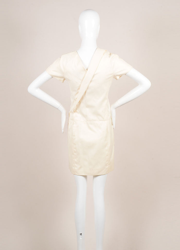 Chanel Cream Cotton Clover Button Short Sleeve Wrap Dress Backview