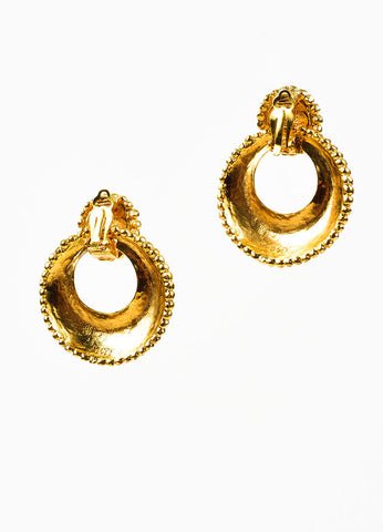 Gold Toned Hammered Chanel Convertible Hoop Clip On Earrings Backview