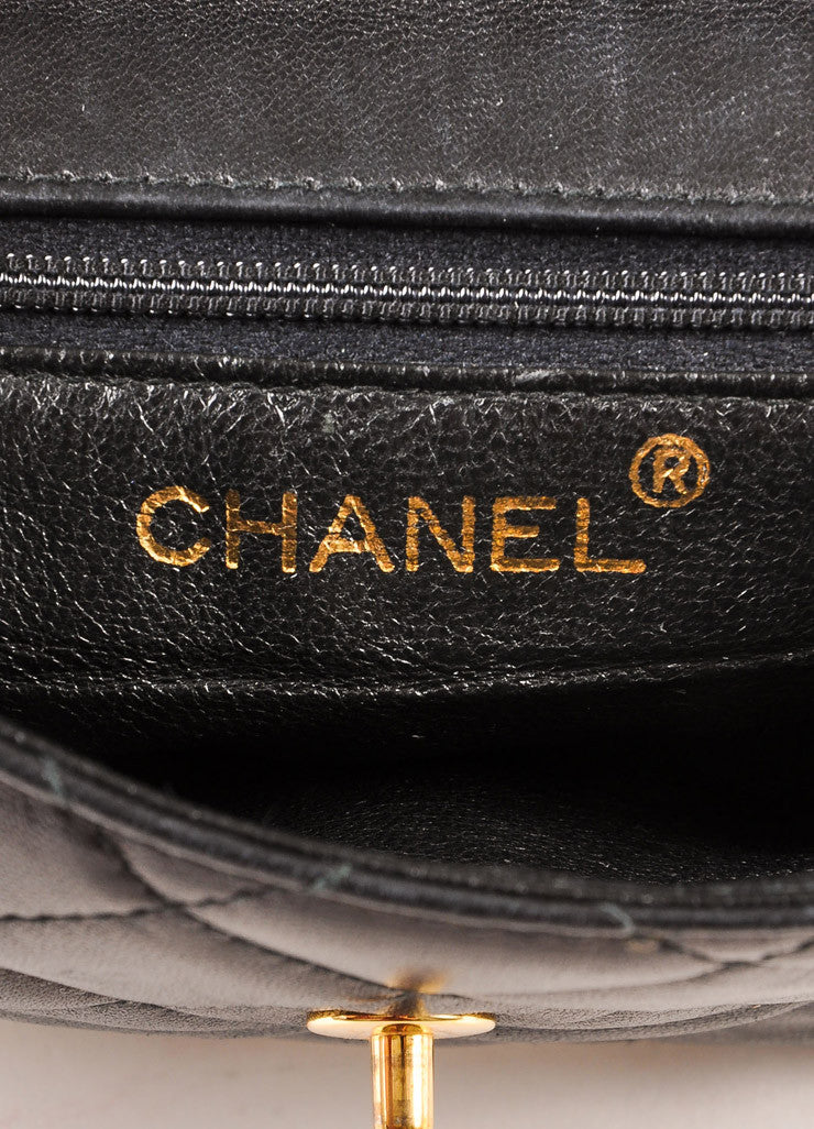 "Chanel Black and Gold Toned Quilted Leather ""CC"" Turnlock Chain Strap Mini Flap Bag Brand"