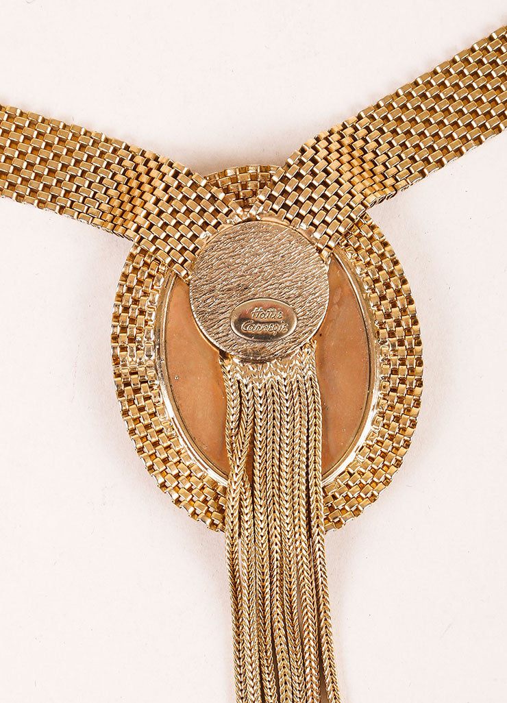 Hattie Carnegie Gold Toned Faux Pearl Embellished Portrait Pendant Necklace Brand