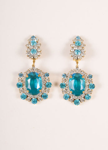 Lilien Blue and Clear Chunky Crystal Rhinestone Cocktail Earrings Frontview