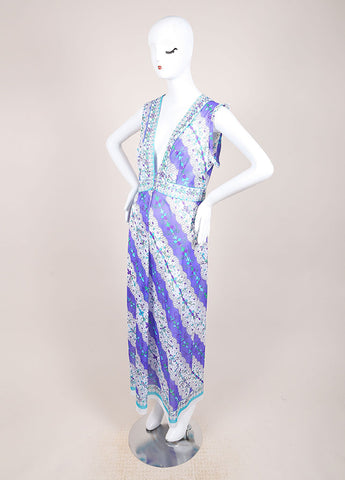 Emilio Pucci for Formfit Rogers Purple and Blue Full Length Sheer Dress Sideview