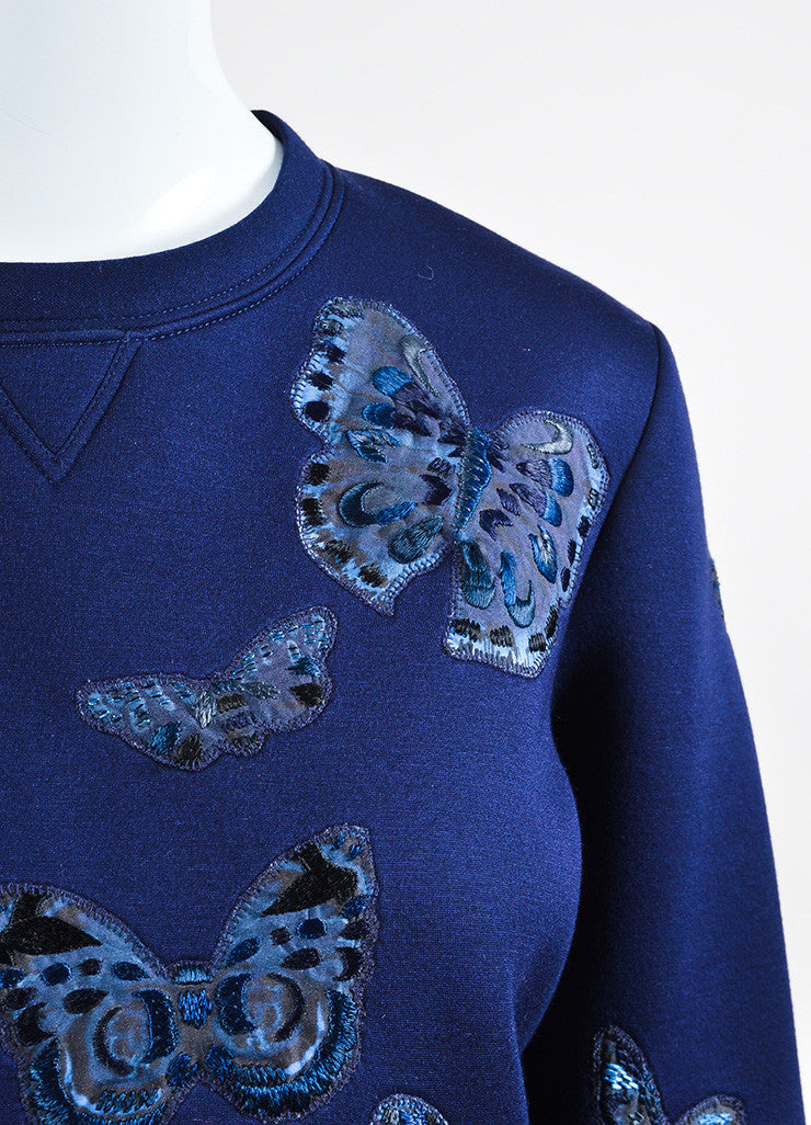 Navy Blue Valentino Scuba Knit Butterfly Embroidered Sweatshirt Detail