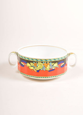 "ersace Rosenthal Red and Multicolor ""Le Roi Soleil"" Large Soup Cup Frontview"