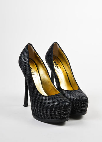 "Yves Saint Laurent Black Metallic Quilted Platform ""Tribtoo"" Pumps Frontview"