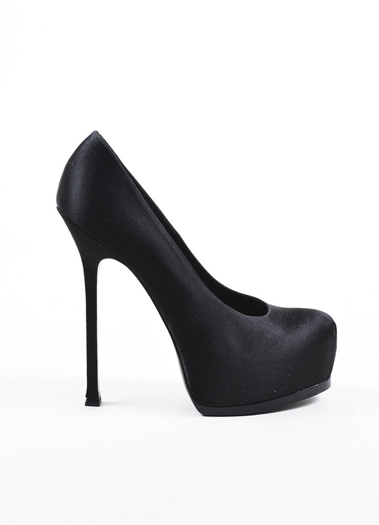"Black Yves Saint Laurent Satin Platform ""Tribute Two"" Stiletto Pumps Sideview"