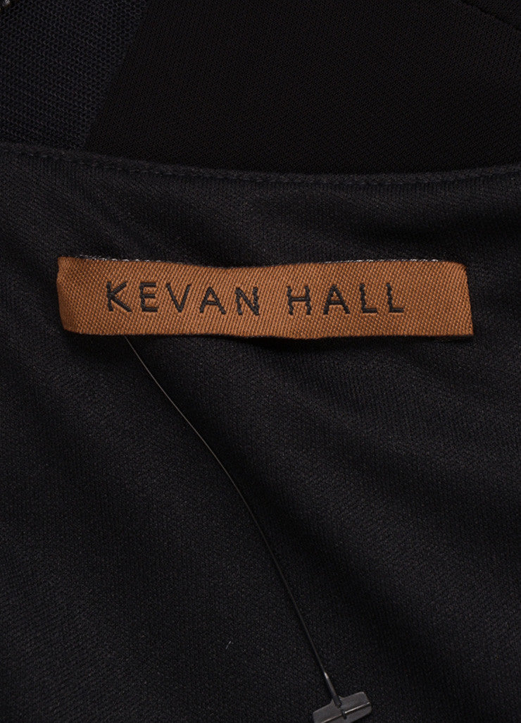 Kevan Hall Black Leather Embellishment Mesh Detail Half Sleeve Dress Brand