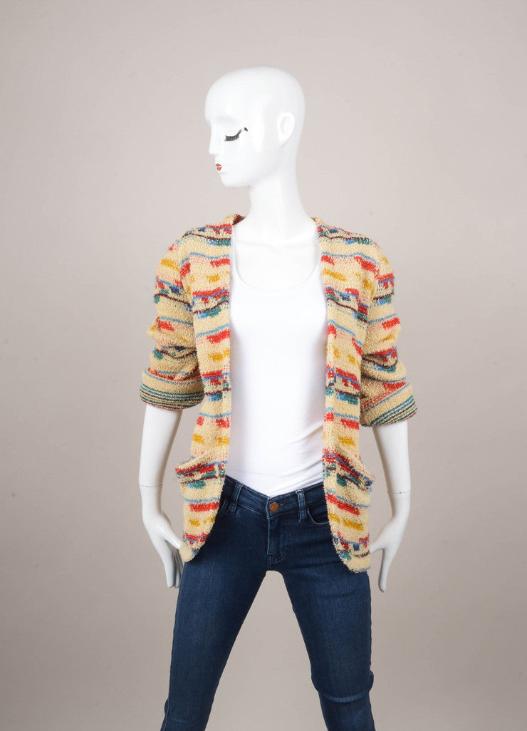 Multicolor Cotton and Wool Cardigan
