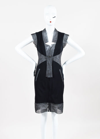 Chanel Black & Grey Zip Up Sleeveless Shift Dress Front 2