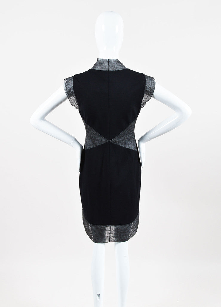 Chanel Black & Grey Zip Up Sleeveless Shift Dress Back