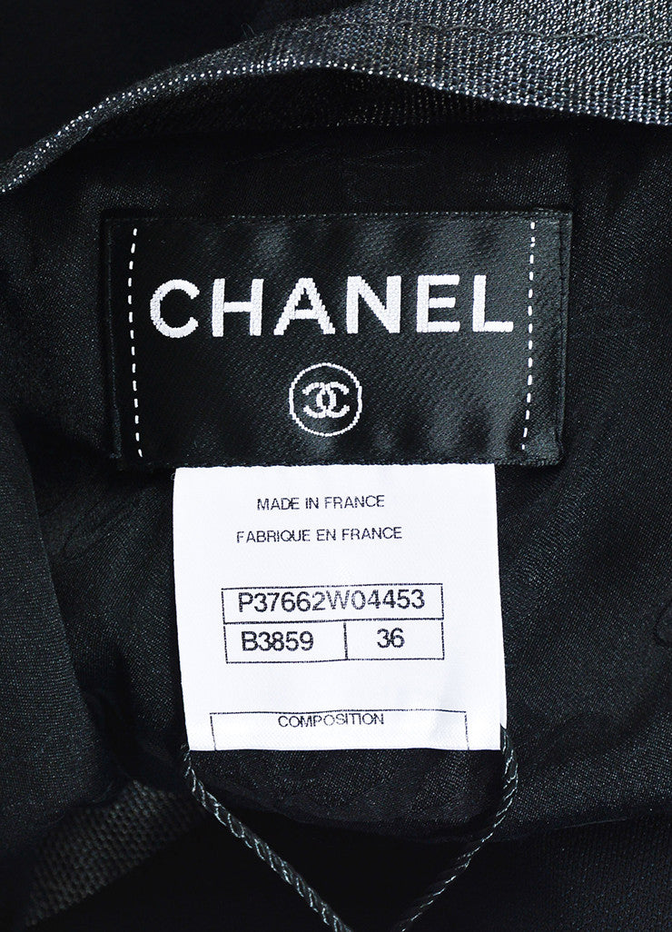 Chanel Black & Grey Zip Up Sleeveless Shift Dress Brand