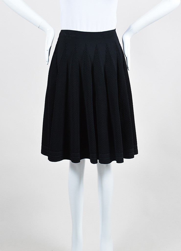 Black Alaia Stretch Crepe Textured Knit A-Line Flared Skirt Frontview