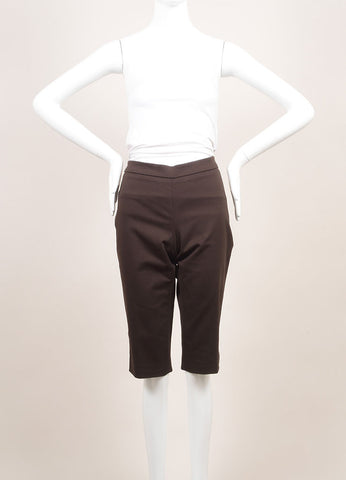 Andrew Gn New With Tags Brown Cotton Tailored Bermuda Shorts Frontview