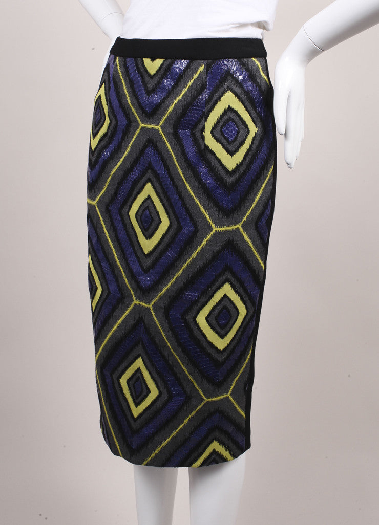 Andrew Gn New With Tags Black and Multicolor Snakeskin Leather and Wool Pencil Skirt Sideview