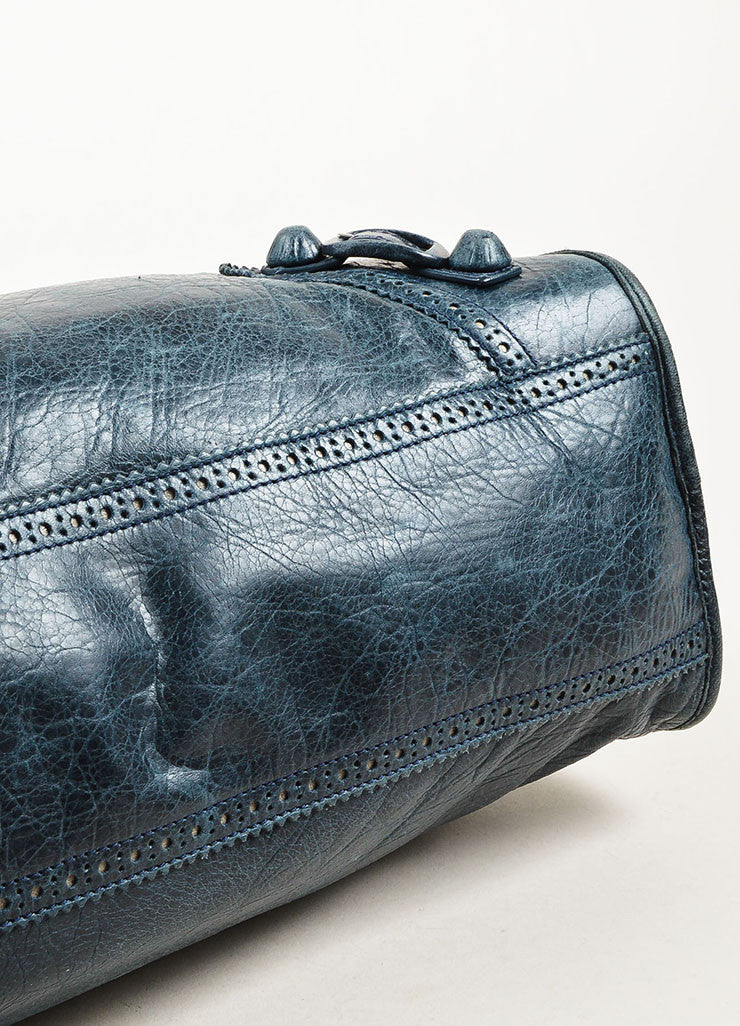 "Balenciaga Blue Leather Silver Toned Metal ""Giant 21 Covered Brogues City"" Bag Bottom View"