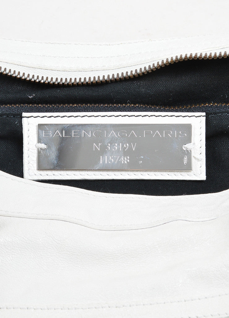 "Cream White Balenciaga Leather ""Classic City"" Satchel Brand"