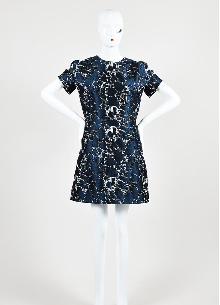Navy Blue, Black, and Grey Balenciaga Brocade A-Line Short Sleeve Dress Frontview