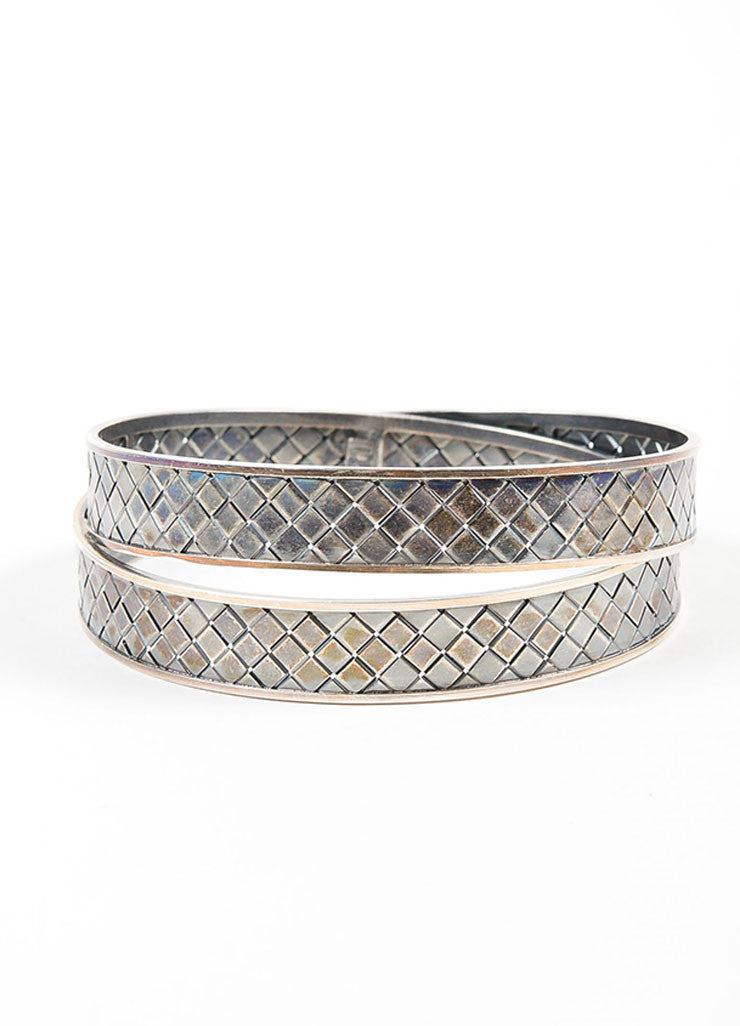 Sterling Silver Bottega Veneta  Woven Intrecciato Bangle Bracelet  Frontview