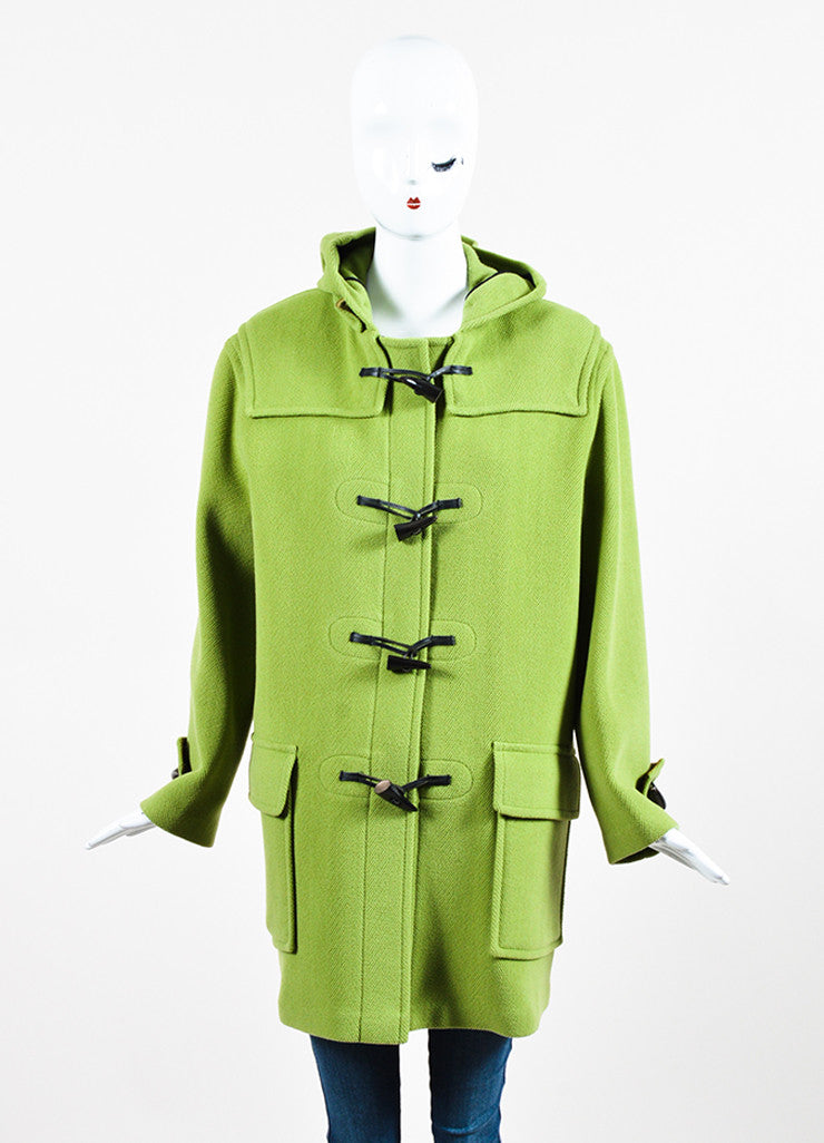 Burberry Lime Green Wool Hooded Toggle Button Coat Frontview 2