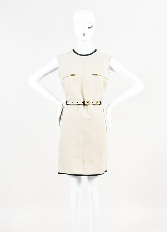 Celine Beige and Black Linen Leather Trim Belted Shift Dress Frontview