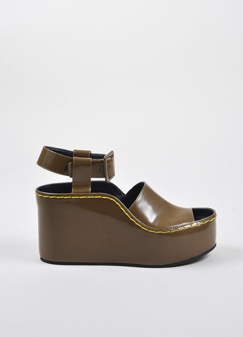 Celine Brown Patent Leather Covered Platform Heeled Wedge Ankle Sandals Sideview