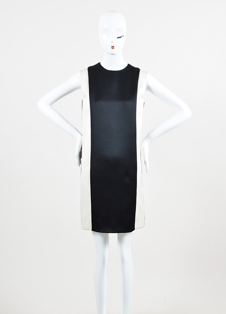 Celine Cream and Black Silk and Wool Blend Leather Trim Color Block Shift Dress Frontview