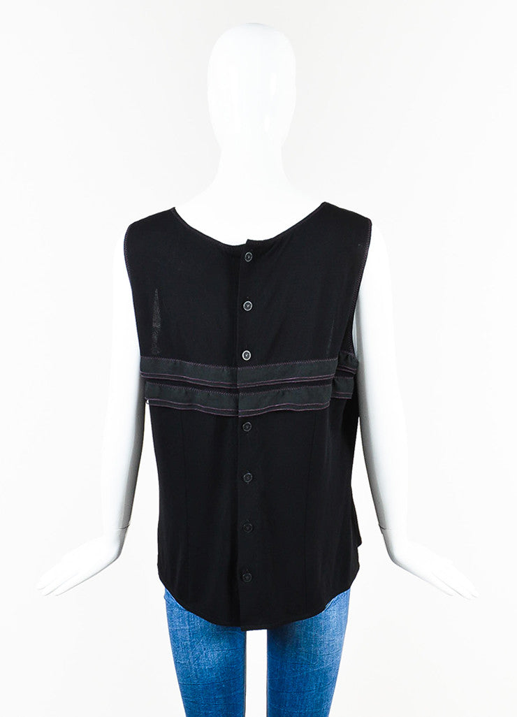 Chanel Black and Purple Jersey Ruffle Stripe Back Button Tank Top Backview