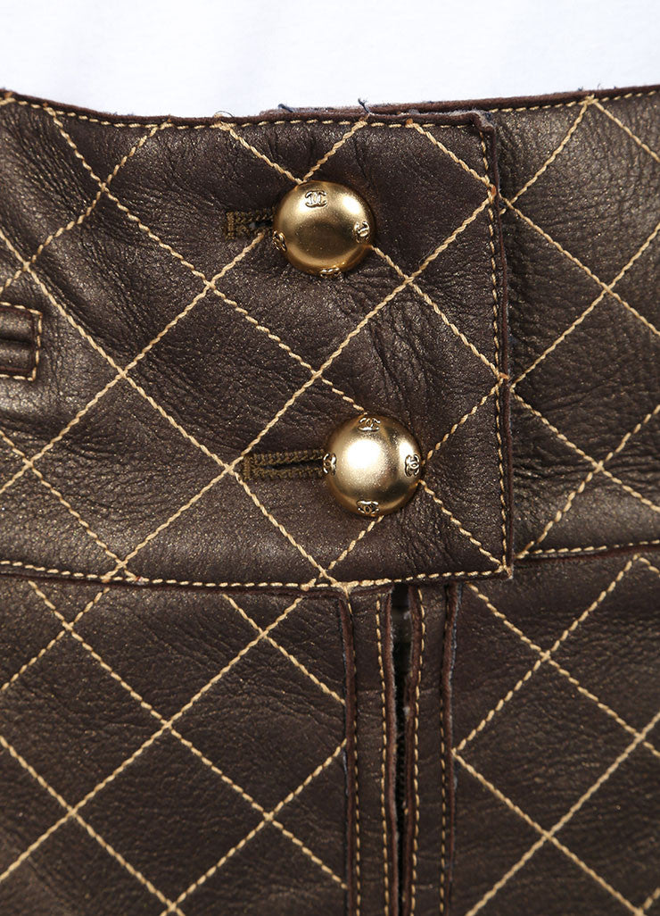 Chanel Brown and Bronze Leather Metallic Quilted Pencil Skirt Detail