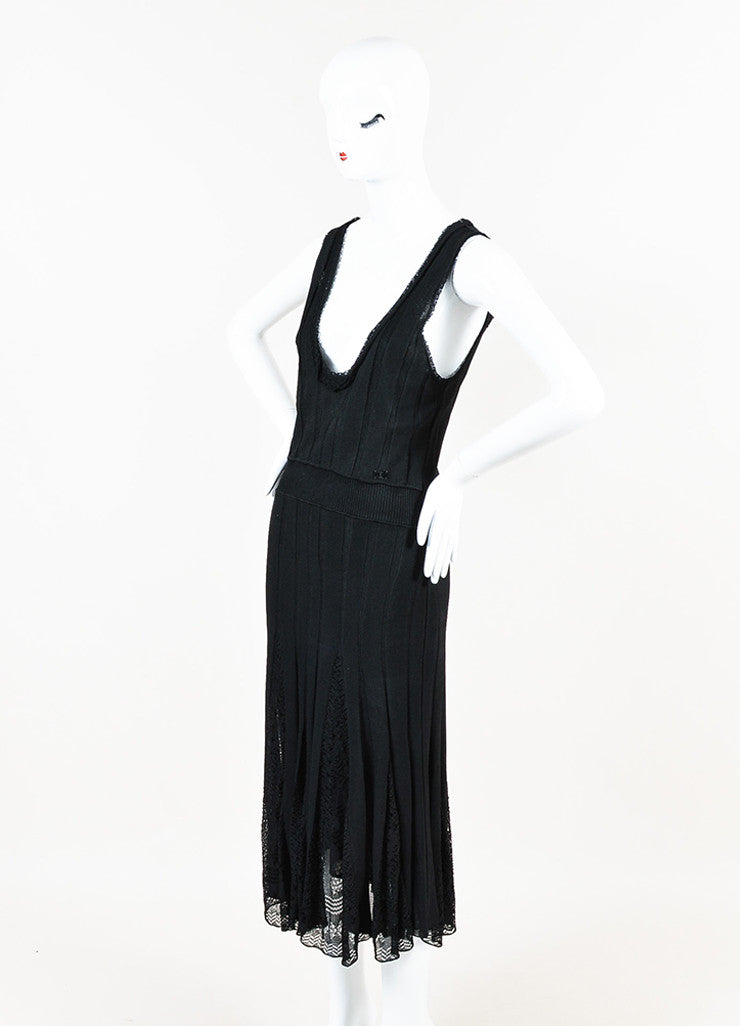 Chanel Black Knit Lace Pattern Godet Sleeveless Scoop Neck Dress Sideview