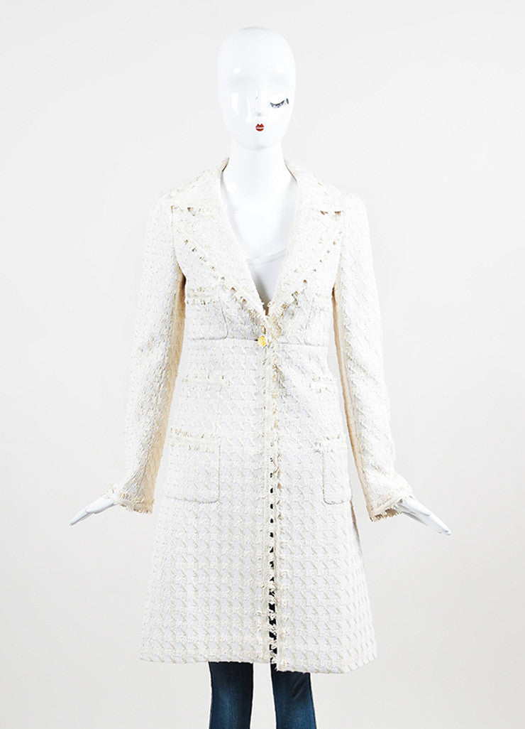 "Chanel ""Light Beige"" and White Silk Blend Tweed Buttoned Car Coat Frontview 2"