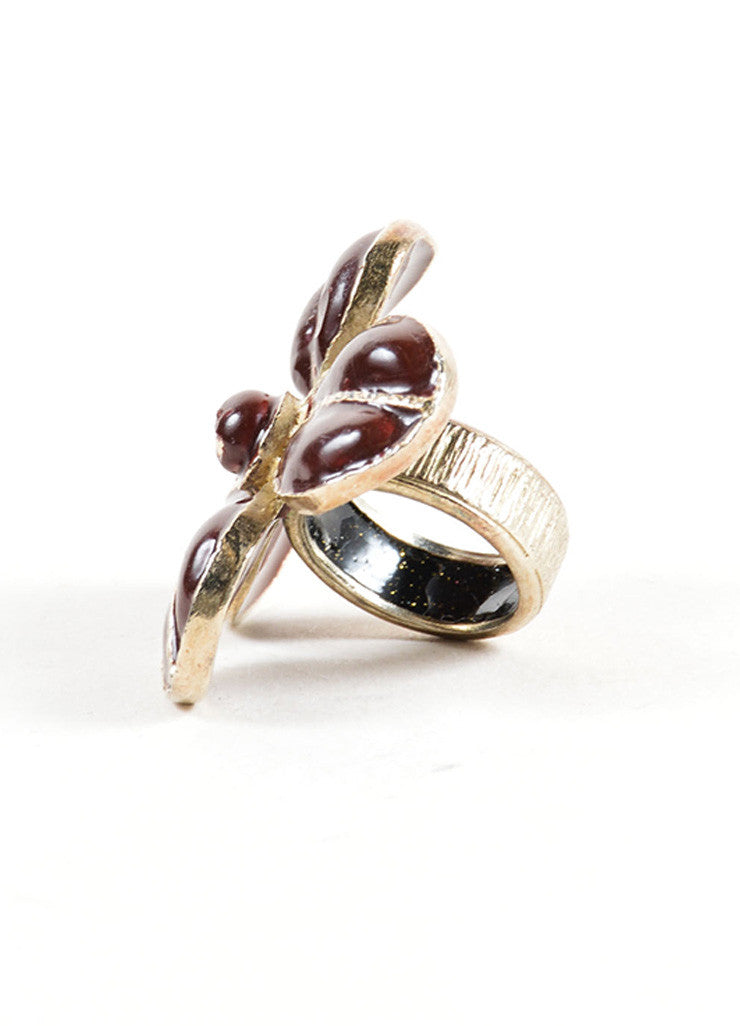 Chanel Maroon Red and Gold Toned Clover Flower 'CC' Cocktail Ring Sideview