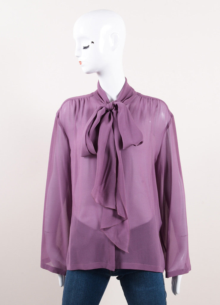 "Chanel Purple Silk Tie Collar ""CC"" Button Down Long Sleeve Blouse Frontview"