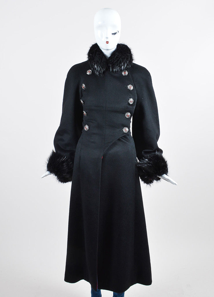Black Chanel Cashmere Beaver Trim Double Breasted 'CC' Button Corset Coat Frontview 2